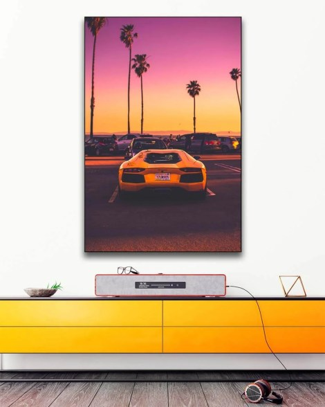 Big Lamborghini Sports Car Sunset Wall Art Huge Decor Prints