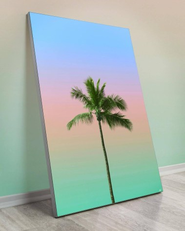 Large Wall Decor with a centered palm tree and a blue, pink, and green sky
