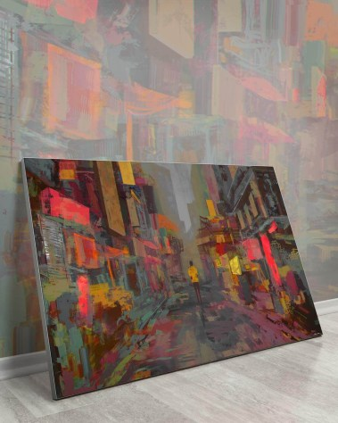 Large wall decor. Man Walking the streets surrounded by warm colors