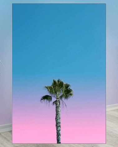 Large wall decor, single centered palm tree with a blue and pink sky