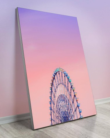 Large wall decor featuring odaiba giant sky wheel with a purple and pink sky