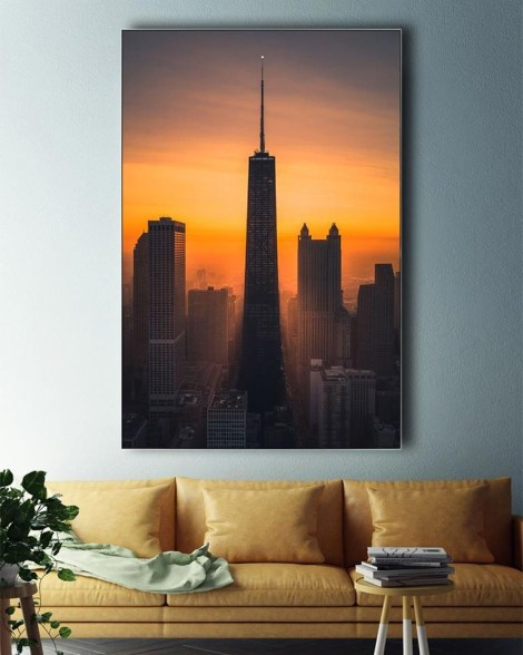 Big sunset Chicago Wall Art Huge Decor Prints