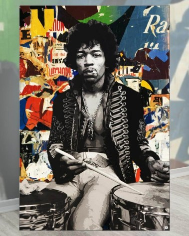 Gigantic Jimi Hendrix Guitarist Pop Art Collage Wall Art