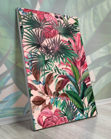 Large-Pink-Tropical-Plants-Wall-Art