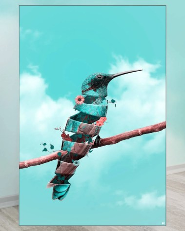 Oversized Surreal Hummingbird Bird Surrealism Wall Art Decor