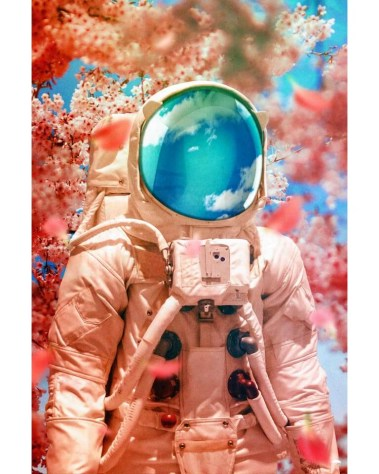Large Cherry Blossom Astronaut Wall Art Huge Decor Prints