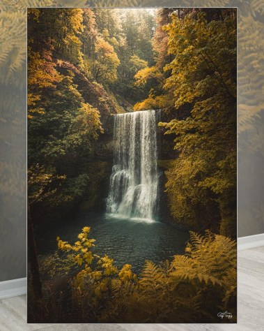 Huge Woods Waterfall Wall Art Framed Fabric Decor