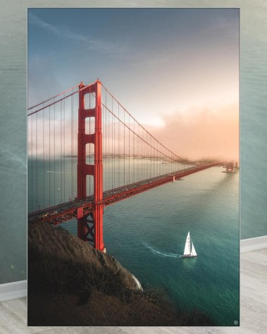 Huge Golden Gate Bridge Wall Art Framed Fabric Decor