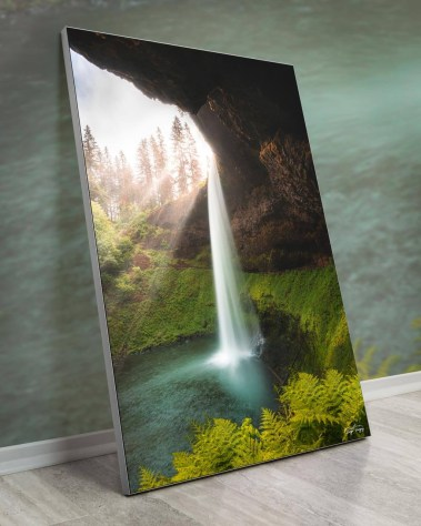Oversized Scenic Waterfall Wall Art Framed Fabric Decor
