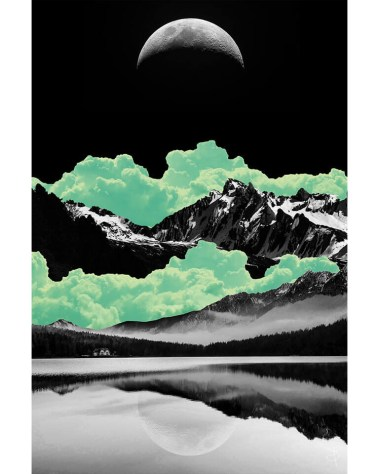 Huge Night Sky With Mountains Wall Art Massive