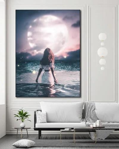 Surreal Wall Art Huge Moon