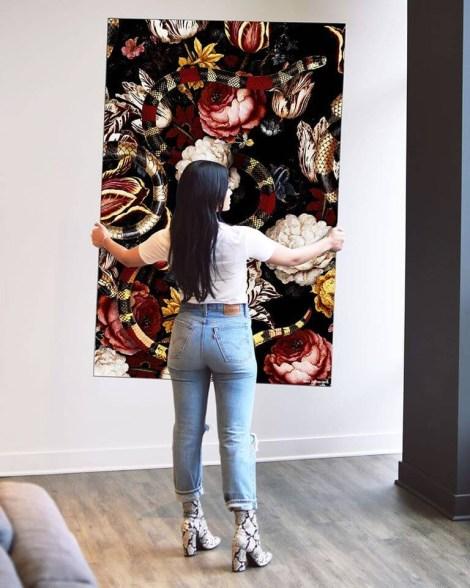 Giant Floral Snake Wall Art Huge Decor Prints