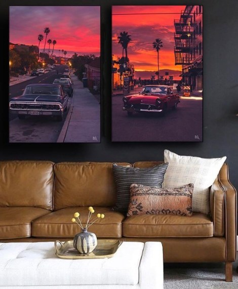 Oversized Sunset At the Beach with Palm trees Wall Art Huge Decor Prints