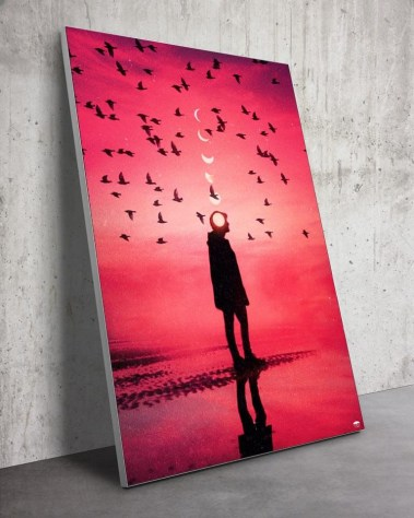Surreal Silhouette Birds Reflection Surrealism Trippy Wall Art for Oversized Home Decor