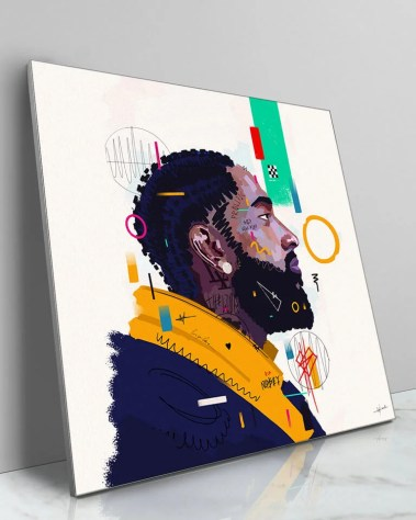 Large Nipsey Hussle Pop Art Celebrity Popular Culture Painted Wall Decor