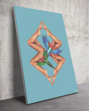 Trippy Legs Woman Bodies Parrot Surreal Digital Surrealism Large Wall Art