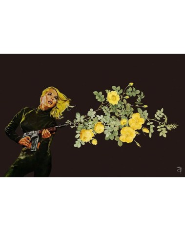 Giant Vintage Floral Surreal Gun Collage Wall Art