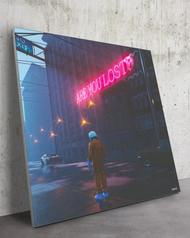 Oversized Are You Lost Wall Art Futuristic Neon Space