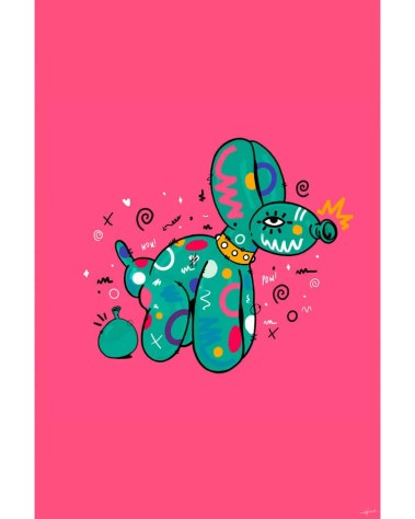 Large Pop Art Colorful Pink and Green Balloon Dog Wall Art