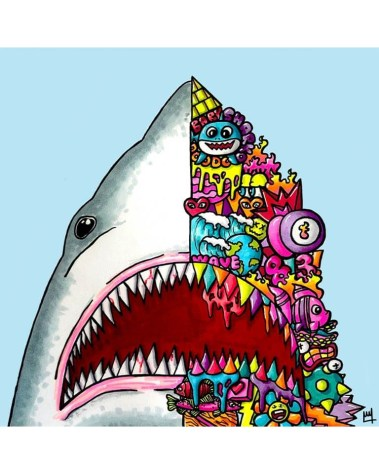 Big Jaws Shark Wall Art Trippy Adventure Cartoon Doodle Illustration Drugs