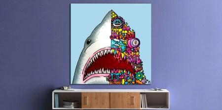 Huge Jaws Wall Art Shark Trippy Adventure Cartoon Doodle Illustration Drugs