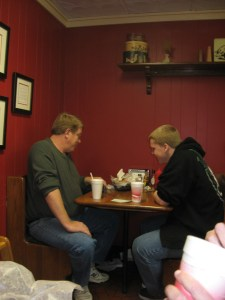 John and his son chowing down