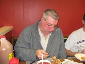 Fred enjoying some chopped pork