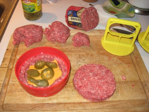Jalapeño and Bacon Cheddar Stuffed Burger in the Making