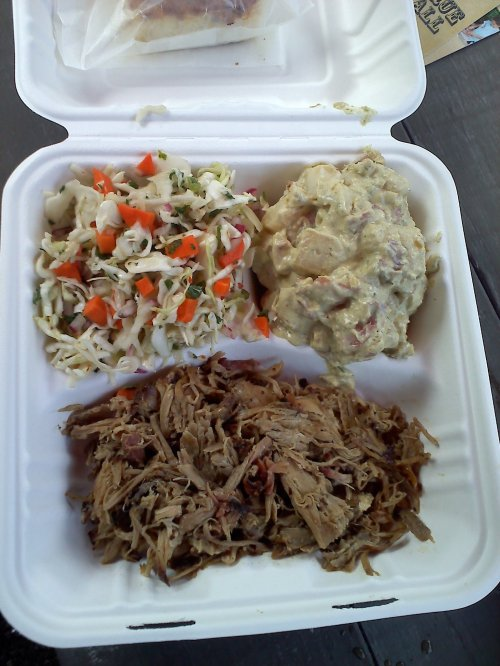 Pulled Pork with Cole Slaw and Potato Salad