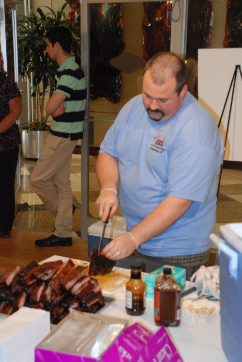 Yours truly slicing the ribs