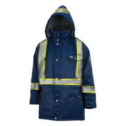 Men's navy Brandon hi viz Parka jacket