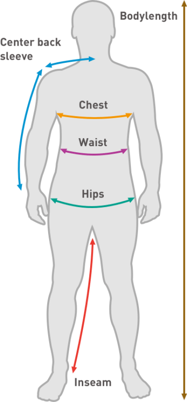 Men's body measurement diagram