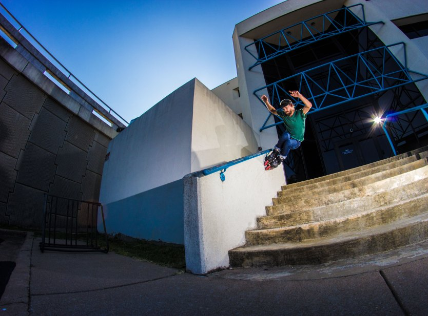 Mick Casals with a wall ride over the stairs. Photo by Joseph Gammill