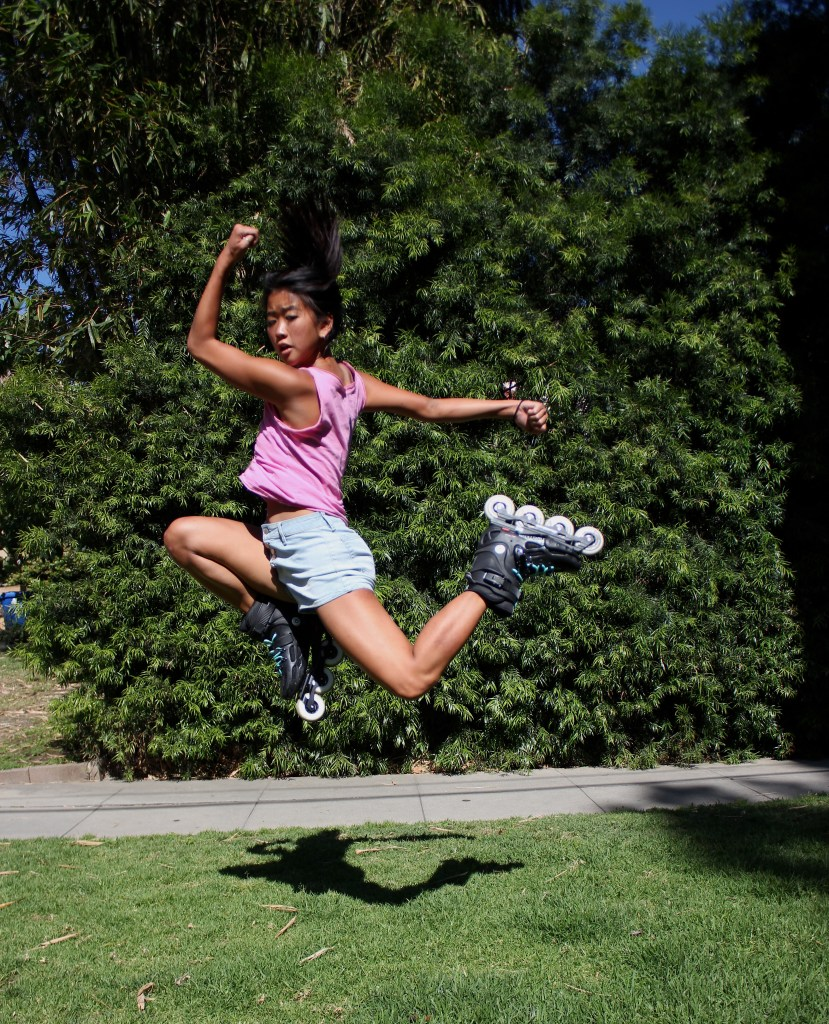 Yanise Ho jumping for joy.