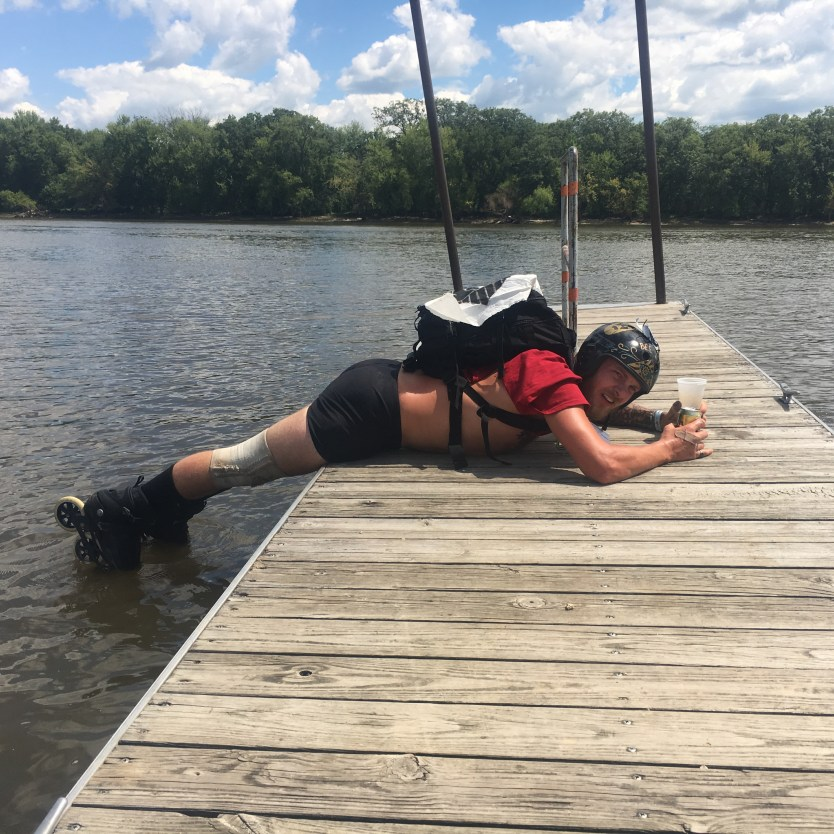 At the end, it is tradition for riders to dip their front wheels into the Mississippi River.