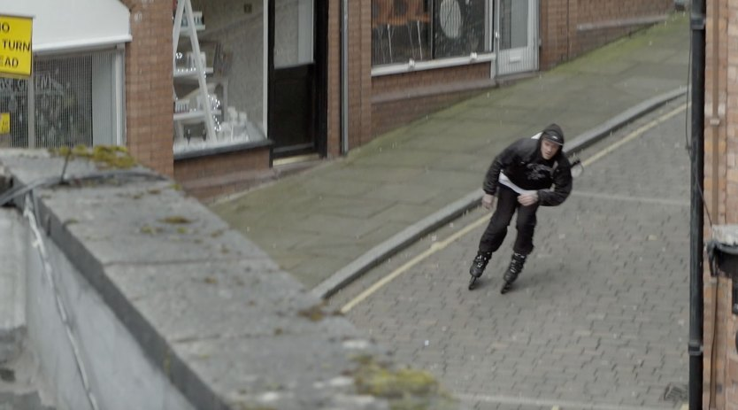 Bombing the cobble stone streets of Manchester, England.