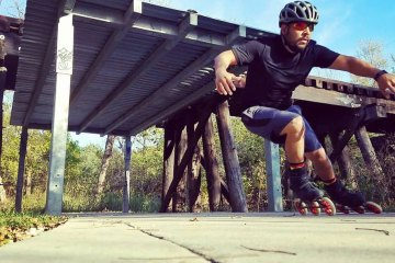 Eric Cruz skating on the Walnut Creek Trail