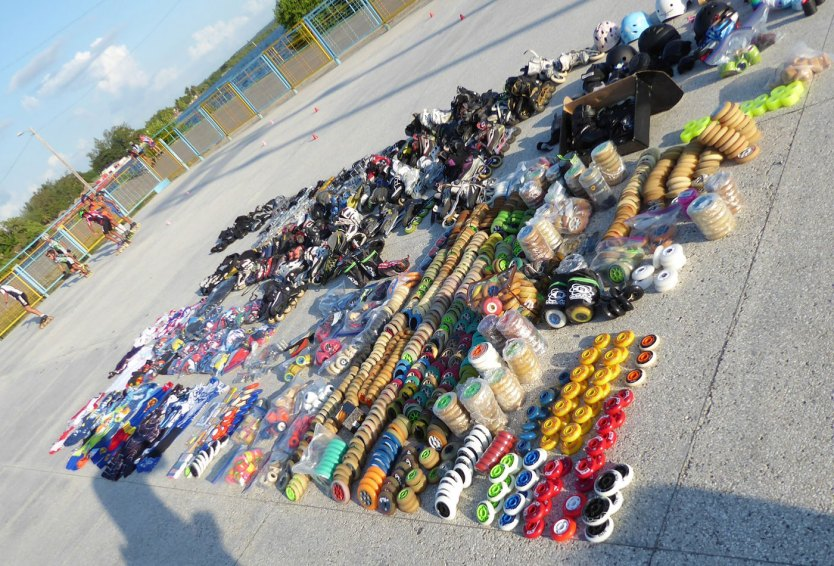Our donations which MUST be hand carried into Cuba. These wheels, skates etc support 2 or 3 skating clubs. Photo by Mike Tillman