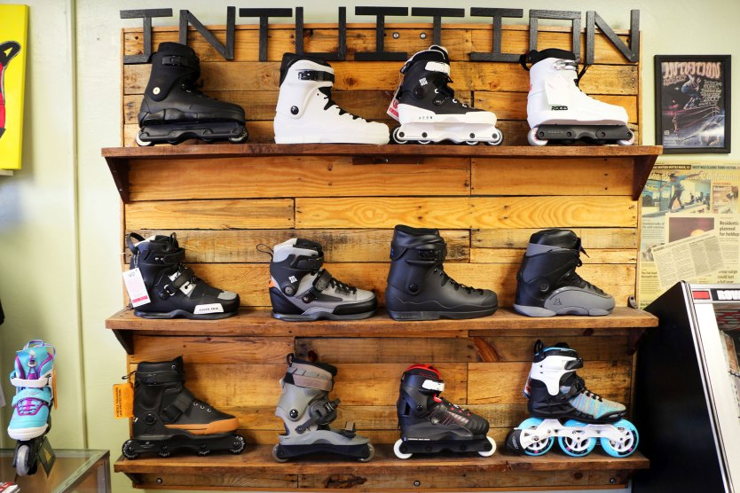 Some of the boots and skates available at Intution.
