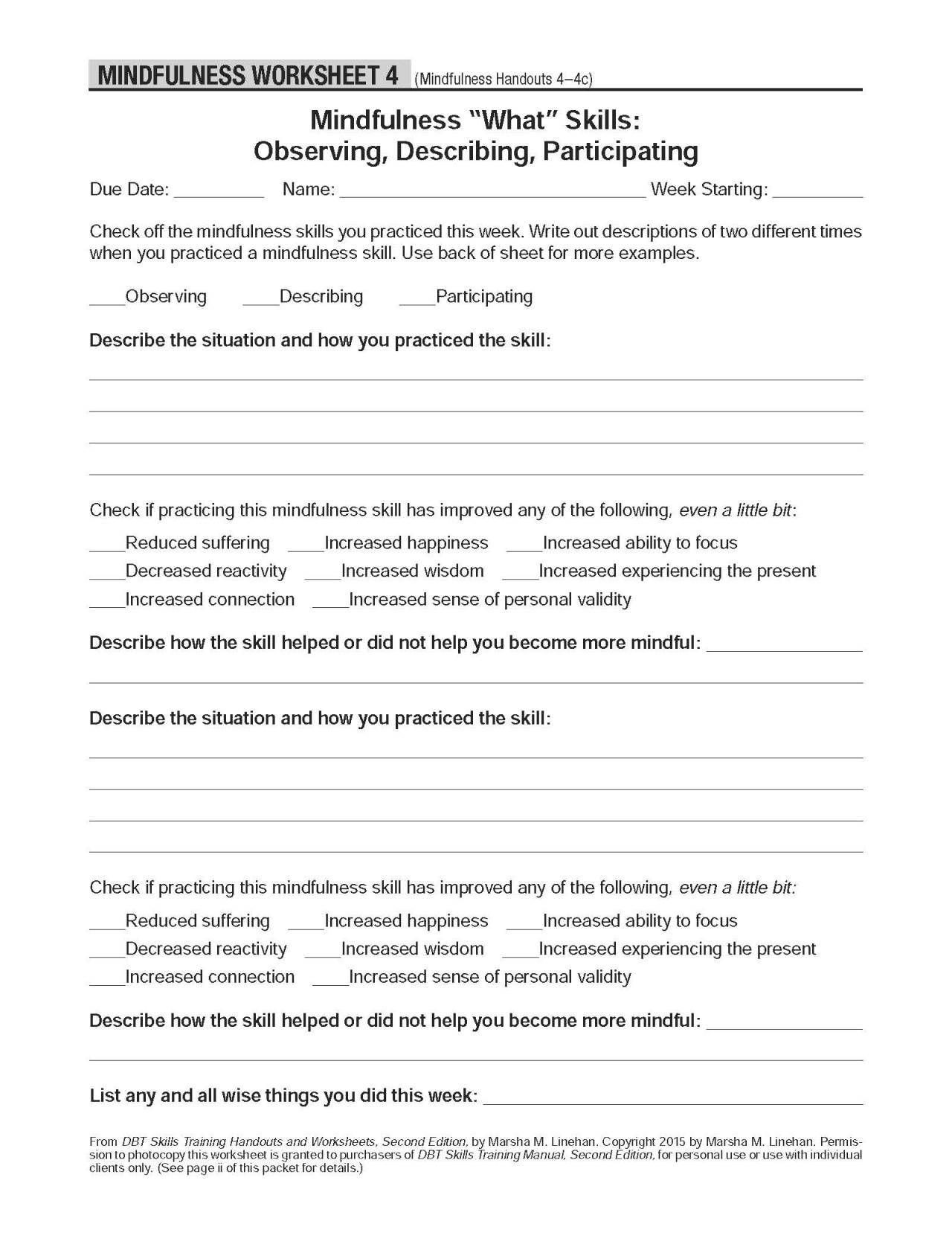 Dbt Skills Training Handouts And Worksheets Free