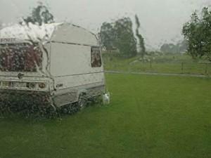 towing in heavy rain