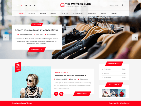The Writers Blog wordpress theme