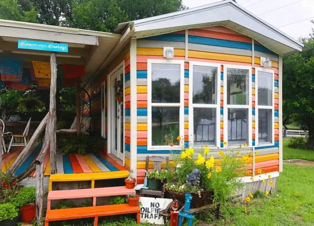 rainbow colored tiny home