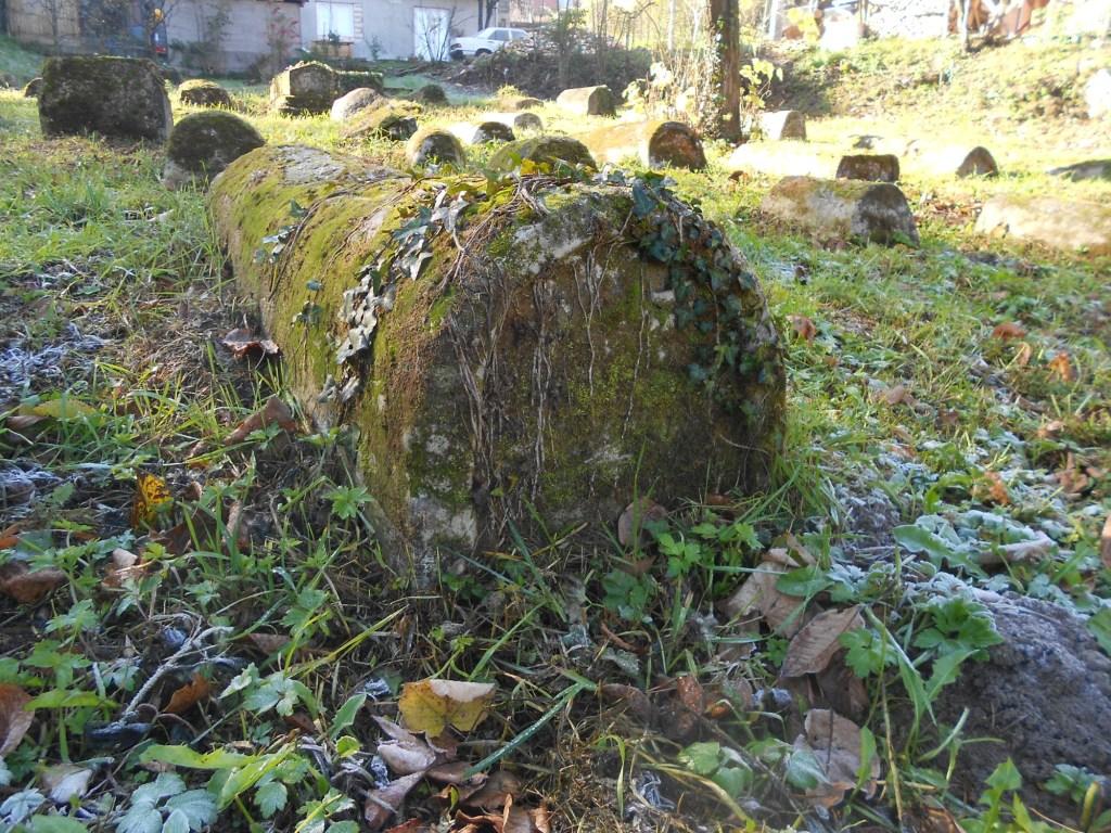 Старинное заросшее мхом надгробие