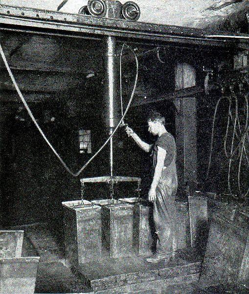 Производство льда в начале 20-го века. Фото: Brown Bros, public domain