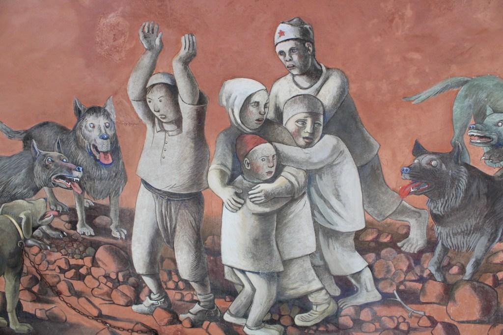 Фрагмент фрески «Дети и псы». Фото: Елена Арсениевич, CC BY-SA 3.0