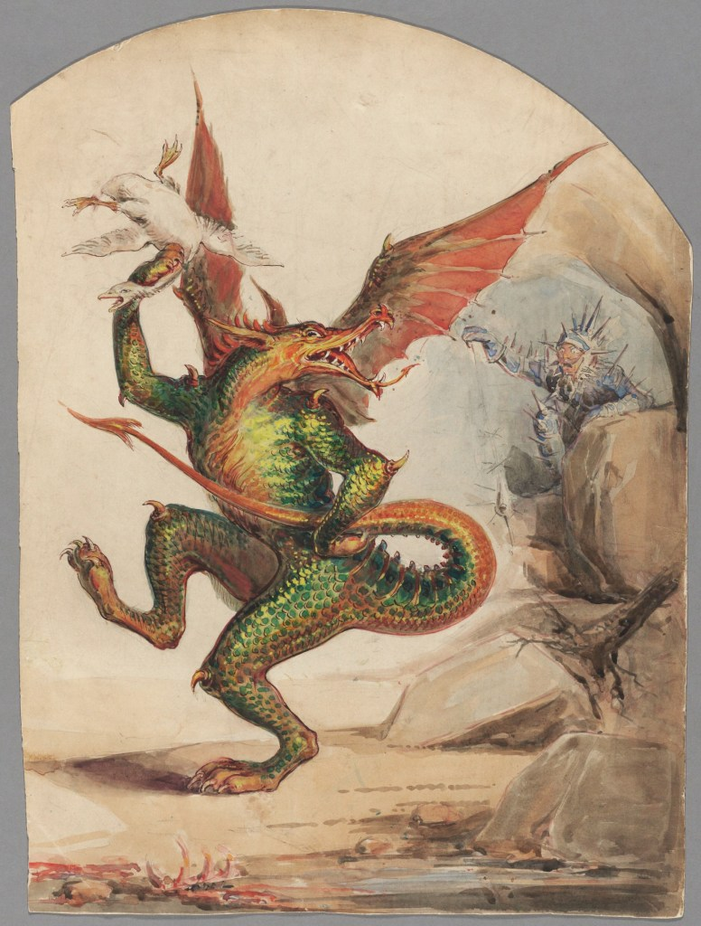 Не знаю, что всё это значит, но дракон задорный. Richard Wynne Keene, Public Domain