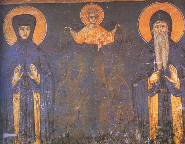 Фреска в монастыре Грачаница: Елена и её сын Стефан Урош II Милутин. Фото: Vanjagenije, CC BY-SA 3.0