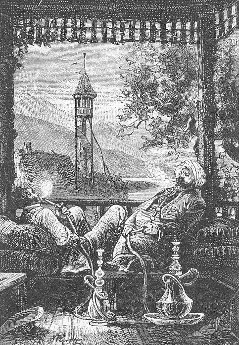 Турок и его европейский гость наслаждаются кальяном. Léon Benett, Public Domain