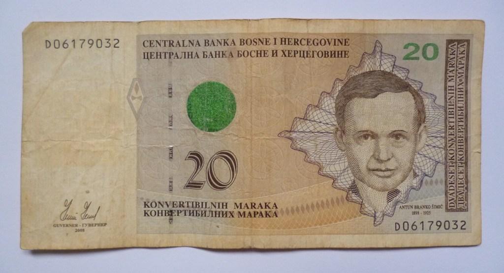 20 конвертируемых марок (около 10 евро). Фото: Елена Арсениевич, CC BY-SA 3.0